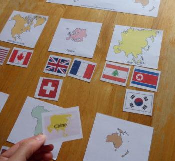 flashcards drapeaux du monde et continents