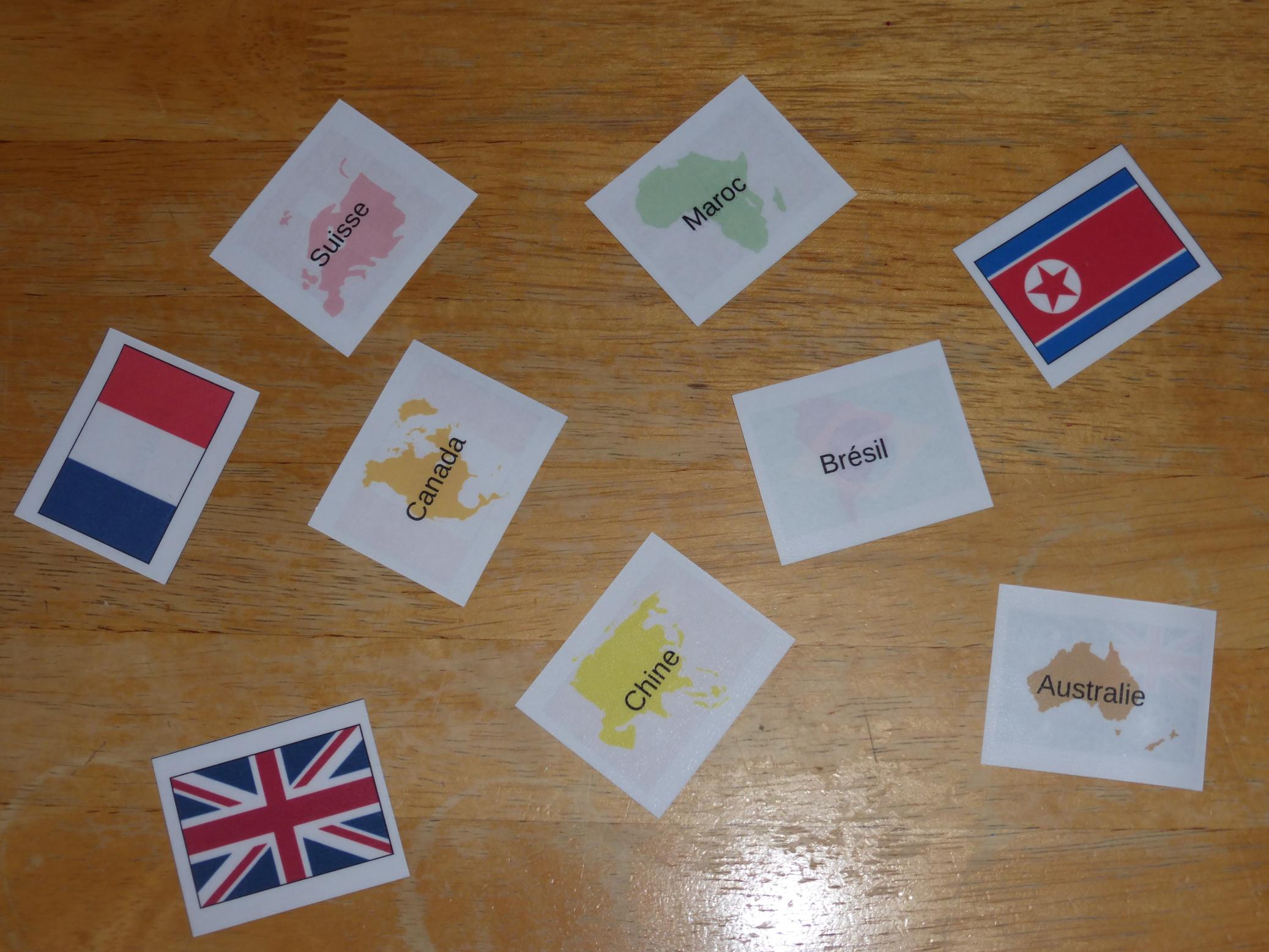 Exemple 4 flashcards drapeaux du monde