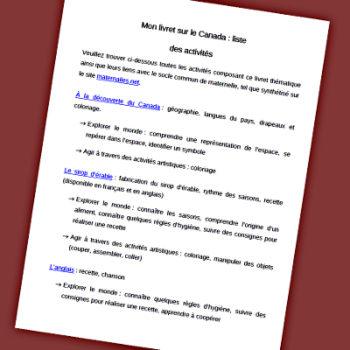 Extrait du sommaire du livret Canada pour les maternelles