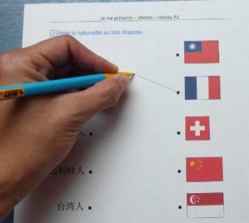 Relier drapeau et nom chinois