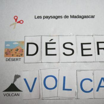 lettres à coller sur Madagascar