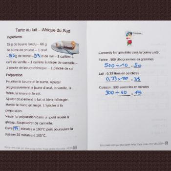maths cycle 2 et recette d'Afrique du Sud
