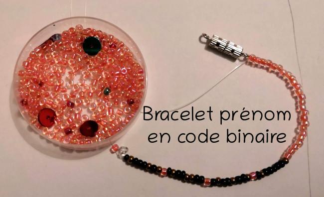 bracelet prénom code binaire