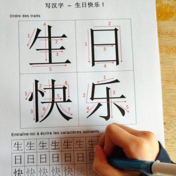 écrire joyeux anniversaire en chinois