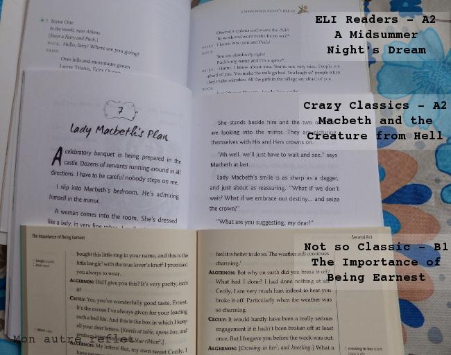 Comparaison livres tout en anglais pour ado