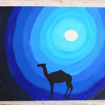 Peindre un paysage nocturne sur le thème du Maroc avec des maternelles