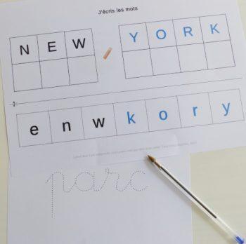 Apprendre à écrire en maternelle sur le thème de New York