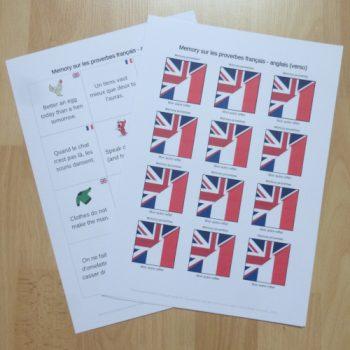 Jeu de memory sur les proverbes anglais à imprimer